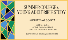 Summer College & Young Adult Bible Study - Sundays 5:30 PM